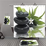 hampton bulldog bar - Uhoo Bathroom Suits & Shower Curtains Floor Mats And Bath Towels 24763882 Spa still life with black stones and bamboo leafs in the water For Bathroom
