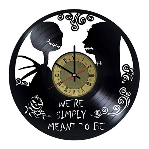The Nightmare Before Christmas Art Decor Vinyl Record Wall Clock - Gift idea for Girls Boys Parents Sister and Brother - Home & Office Bedroom Nursery Room Wall Decor - Customize Your Clock