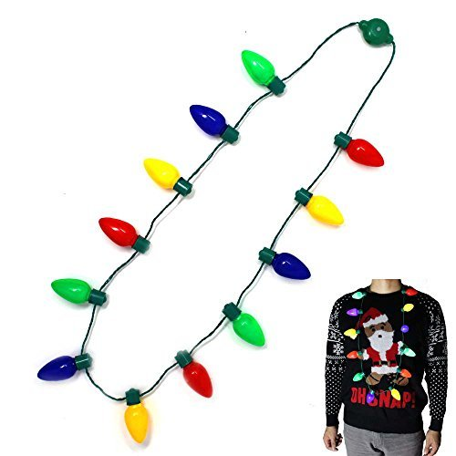 - Joyin Toy LED Christmas Bulb Necklace Light Up Party Favors 12 LED Bulbs (1 Pack)