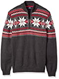 IZOD Men's Big and Tall Fairisle Quarter Zip 5 Gauge Sweater, Black Heather, 3X-Large