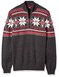 Izod Mens Big and Tall Fairisle Quarter Zip 5 Gauge Sweater Pullover Sweater