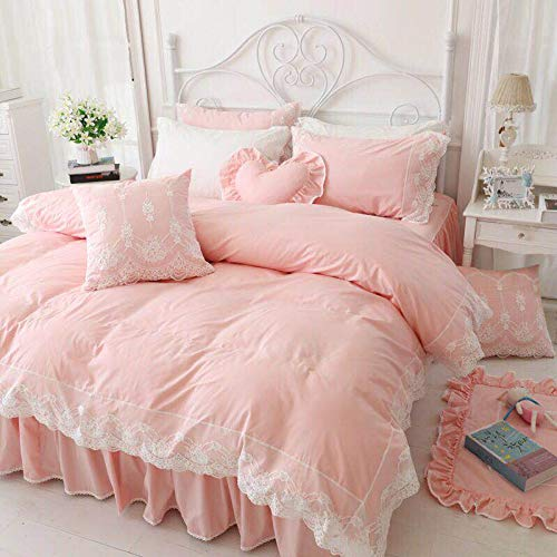 A-4寝具カバー ベッド用品布団カバー 枕カバー シーツ3-4点セット大人気 (ピンク, セミダブル) B07JJJSW64 ピンク セミダブル