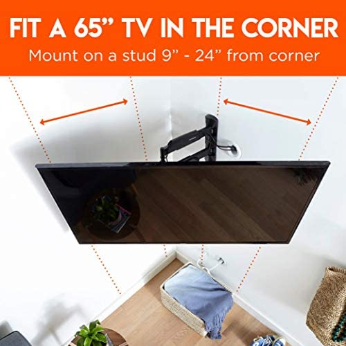 ECHOGEAR Corner TV Wall Mount for TVs Up to 65 – Easy to Install Single Stud Design for Maximum Wall Compatibility – 24 of Smooth Extension Plus Swivel, Tilt, Finish with Built-in Cable Management