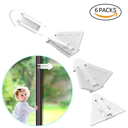 Sliding Door Locks, 6 Pcs Childproof Locks with 3M Adhesive for Patio, Closet, Windows, RV,No Tools Needed and Easy Clean Wave Medicine Cabinet