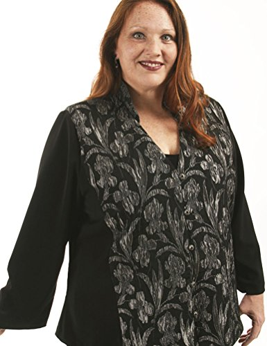 Peggy Lutz Plus Women's Mandarin Jacket Black Grey Gaultier Orchids - (26/28)