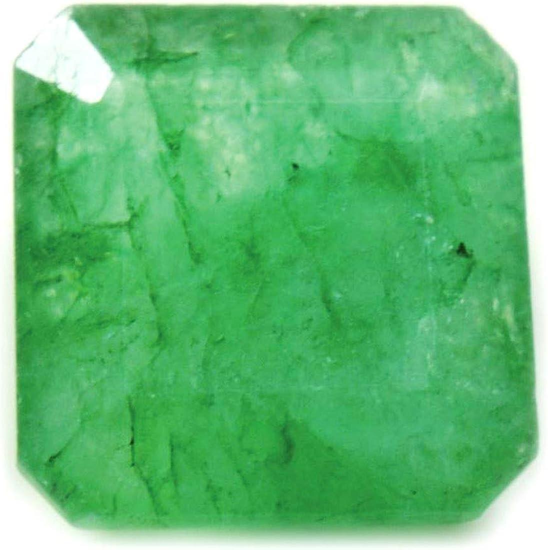 Gemsyogi 10X10 MM Taille Naturel Emearld Pierre Vert Asscher Facettes L/âche Gemstone pour La Fabrication de Bijoux