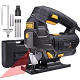 Jigsaw Tool, TECCPO 800W 3000SPM Jig Saw with Laser Guide, 6 Blades, 6-Stage Variable Speed and 4-Stage Pendulum Action, Pure Copper Motor with Carrying Case and Scale Ruler - TAJS01P