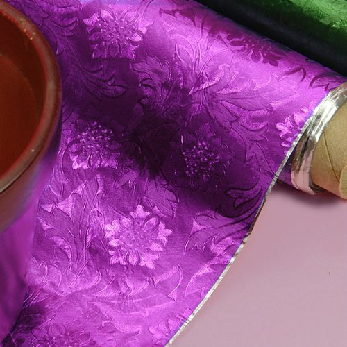 Premium Floral Foil Wrapping Paper - 20 Inches By 10 Yards (Purple Embossed Foil)