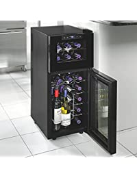 Wine Enthusiast 272 03 19 05 Silent 21 Bottle Dual Zone Touchscreen Wine Cooler, Black