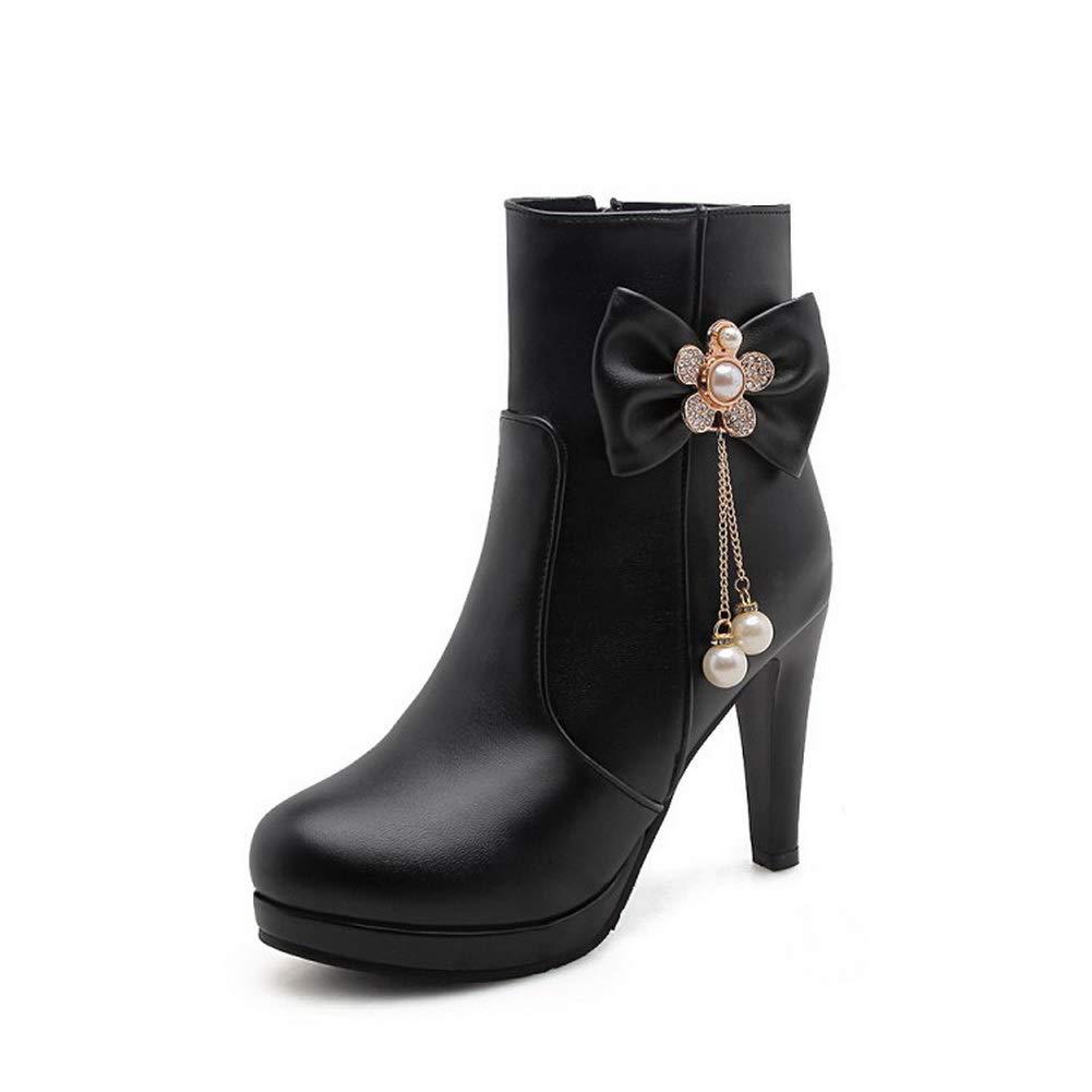 AN Womens Chunky Heels Platform Bead Leather Boots DKU02434