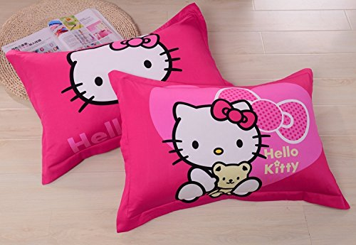 Lt Twin Full Queen Size 4-pieces Hello Kitty Toddler White and Black Love Hearts Big Pink Bow Prints Fitted Sheet Sets (With Rubber Around)Duvet Cover Set/bed Linens/bed Sheet Sets/bedclothes/bedding Sets/bed Sets/bed Covers/5-pieces Comforter Sets/bed in a Bag (4pcs without comforter, full)