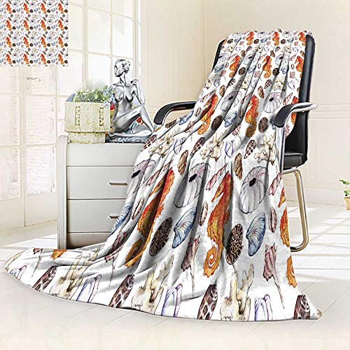 YOYI-HOME Luminous Microfiber Throw Duplex Printed Blanket Watercolor sea Ocean Seahorse Seashell Coral Reef Polyp ammonit Urchin Seamless Soft and Durable Polyester/47 W by 69
