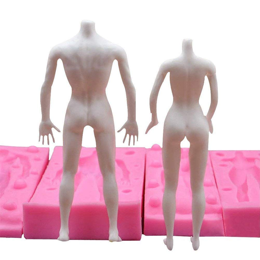 1 Set 3D Male and Female Whole Body Models Silicone Mold,Fondant Chocolate Ice Cube Jelly Cake Decorating Mould Baking Tools,DIY Clay Plaster Toys Models Human Body Mould, Baking Mold Bakeware Pan by VAlink (Image #4)