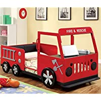 247SHOPATHOME Idf-7767 Childrens-Bed-Frames, Twin, Red