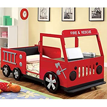 Amazon.com: 247SHOPATHOME IDF-7767 Childrens-Bed-Frames, Twin, Red ...