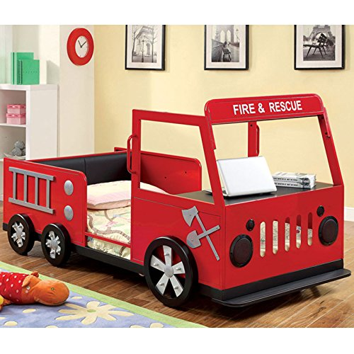 Metal Finish Fire Truck Design Youth Twin Size Bed Frame