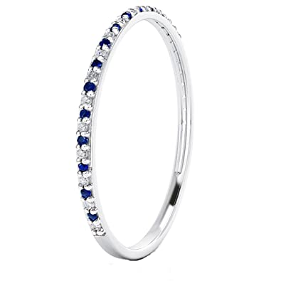 Amazoncom 14k Gold Dainty Half Band Natural Diamond and Blue