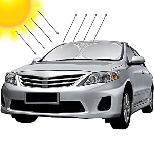 "Likorlove Car Windshield Sunshade Jumbo (74"" x 35""),Blocks UV Rays Sun Visor Protector,Sunshade To Keep Your Vehicle Cool And Damage Free,Easy To Use,Fits Windshields of Various Sizes"