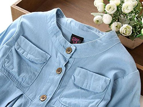 BANGELY Kids Baby Girls Ruffled Hem Denim T Shirt Tops Long Sleeve Casual Princess Blouses size 2-3T/Tag110 (Blue)