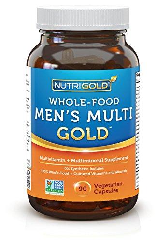 NutriGold Всего продовольствие Мужская нескольких Gold - 90 Veggie капсул - Всего-Food поливитамины с минералами и сопутствующих факторов (поверхностное поглощение, основанные на продуктах питания, Zero синтетический витамин изолятов Нет металлический при