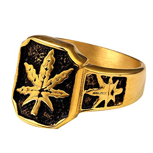 Men's Stainless Steel 18K Gold Plated Hip Hop Ring Weed Marijuana Leaf Rings, Size 10 by JAJAFOOK