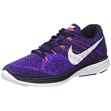 premium selection 7cfca 264bc Nike Mens Flyknit Lunar3 Running Shoe(BlackWhite-Concord-Vivid Purple,