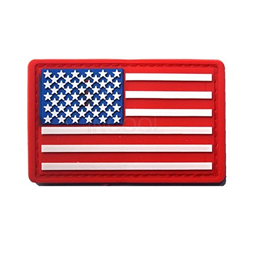 - Shoppy Star 3D PVC American Flag Patch US Flag United States Thin Blue Line Military Morale Patch Tactical Emblem Badges Hook Rubber Patches: 12