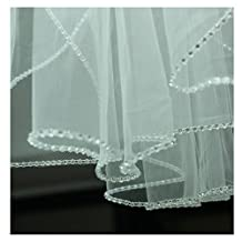 EllieHouse Women's Crystal Short Wedding Bridal Veil With Free Comb E24