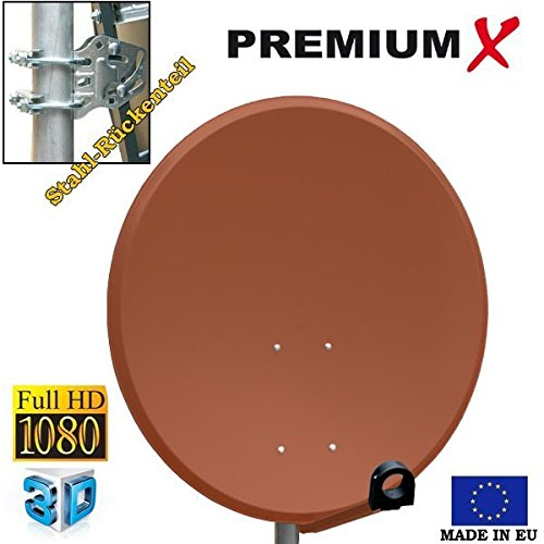 PremiumX Antenne PXS80 Stahl Ziegelrot 80 cm Digital Sat Sch/üssel Spiegel Full HD HDTV 3D tauglich