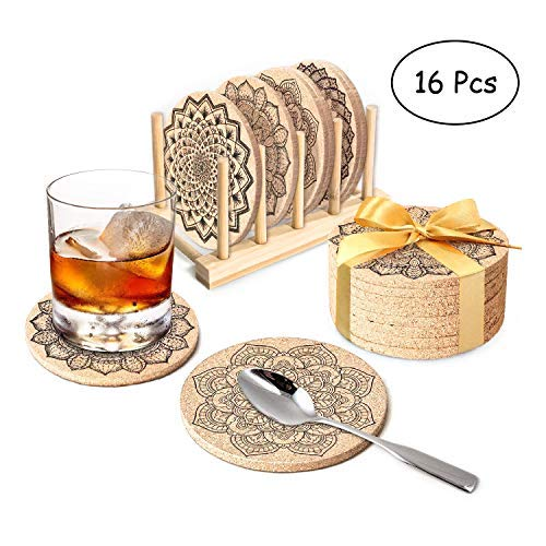 Drink Cork Coasters with Holder, 16PCS Cork Coasters Set, Round Mandala Patterns Coasters for Drinks in Office, Home and Cottage, Bar, Restaurant Fits Cold Drinks, Wine Glasses, Cups& Mugs