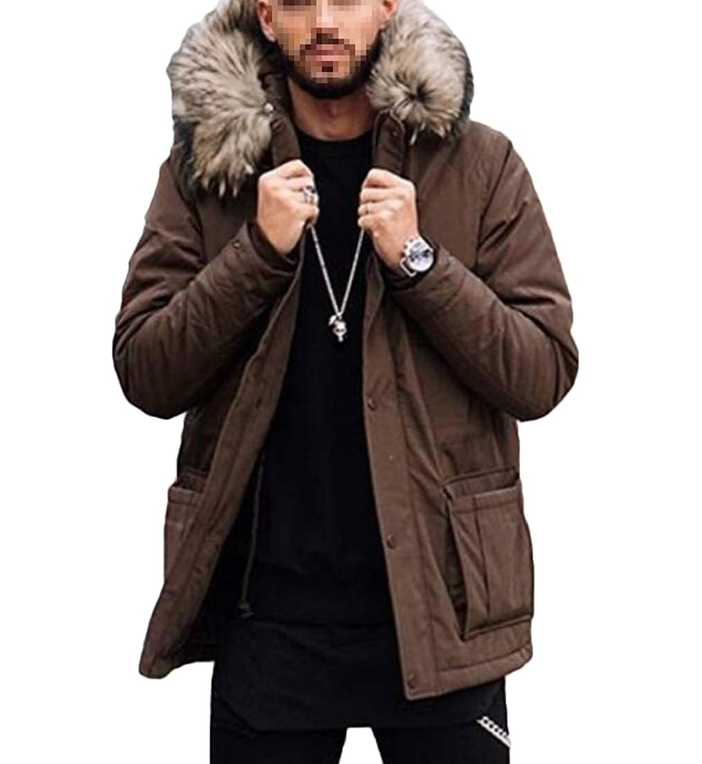 CRYYU Men Hooded Faux Fur Collar with Pockets Quilted Warm Down Jacket