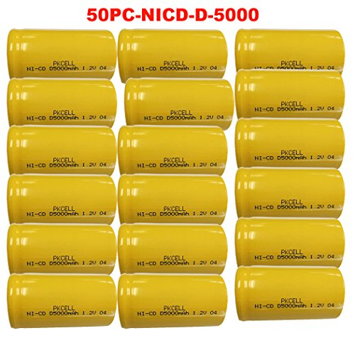 D Size 1.2V 5000mAh NI-CD Flat Top Rechargeable Battery 50Pcs by PK Cell