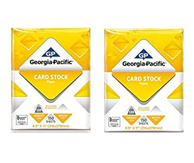 """Generic Georgia-Pacific 150 Sheets 8.5"""" x 11"""", White Cardstock Paper, 110 lb (2 Pack)"""