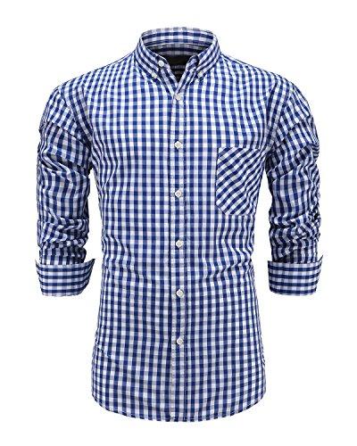 (GoldCut Men 100% Cotton Slim Fit Long Sleeve Button Down Plaid Dress Shirt Medium Navy)