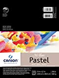Canson Mi-Teintes Pastel Paper Pad, White with Glassine, Dual Sided Light and Heavy Texture, Top Wire Bound, 98 Pound, 9 x 12 Inch, White, 16 Sheets