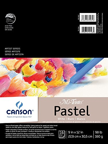 Canson Mi-Teintes Pastel Paper Pad, White with Glassine, Dual Sided Light and Heavy Texture, Top Wire Bound, 98 Pound, 9 x 12 Inch, White, 16 Sheets Canson Pastels