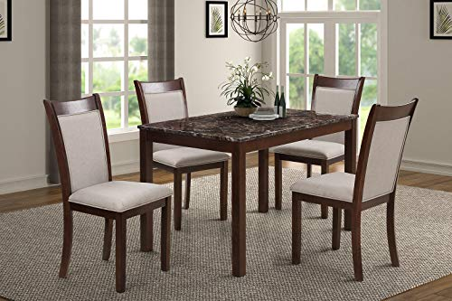 Harper Bright Designs Dining Kitchen Table Set with Chairs – 5-Piece Kitchen Dining Table Set Include 1 Marble Top Table and 4 Burlap Chair