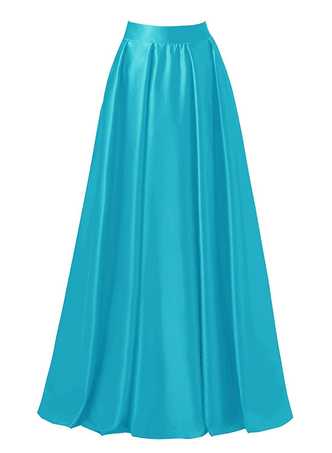 bluee DreamSkirts Women's Satin Flared Swing Maxi Skirt Long Floor Length High Waist Fomal Prom Party Skirts with Pockets