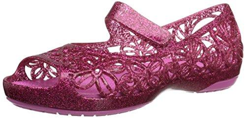 crocs Isabella Glitter PS Jelly Flat (Toddler/Little Kid), Fuchsia/Candy Pink, 8 M US - Fuchsia Candy