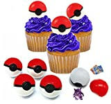 Nelso Toys & Co. Pokemon Cupcake Toppers Poke Ball With Surprise Pokemon Action Figure And Pikachu Tattoos Set of 9