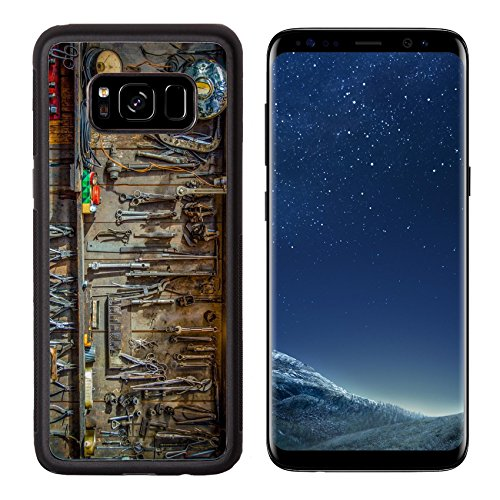 MSD Premium Samsung Galaxy S8 Aluminum Backplate Bumper Snap Case Vintage Tools Hanging On A Wall In A Tool Shed Or Workshop IMAGE 25799637