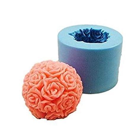 Nicedeal - Molde de Silicona para Manualidades, diseño de Rosas cilíndricas, Hecho a Mano