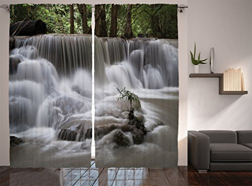 (Ambesonne Waterfall Decor Collection, Mystic Waterfall in Forest Trees Splashing Water Babbling Brook Photography, Window Treatments, Living Room Curtain 2 Panels Set, 108 X 84 Inches, White Green)