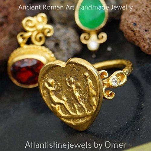 925 k Silver Handmade Roman Art White Topaz Coin Ring By Omer 24k Gold Vermeil