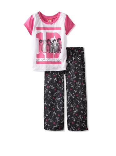 One Direction Girl's 1D 2-Piece Sleep Set - Black and White 1D
