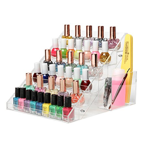 (Clear Acrylic Nail Polish Organizer Rack, 6-Tier 36-Bottle Display Stand with Filer & Brush Cup Holder)