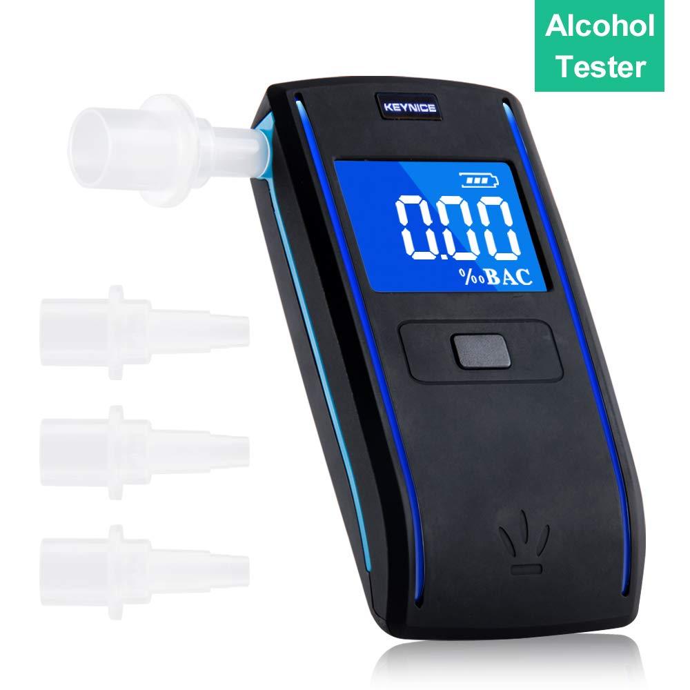 KEY NICE Tragbar Alkoholtester, Halbleiter Sensor Atemalkoholmessgerä t, Alkoholmessgerä te Alkoholtester, LCD Anzeige Alkohol Analyzer Tester mit 4 Mundstü cke