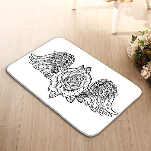 zexuandiy Print Bath Rugs Bathroom Accessories Non-Slip Doormat Floor Entryways Indoor Front 23.6 by 15.7 Inch Rose Flower Angel Bird Wings Blackwork Flash vi v
