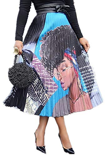 Speedle Women Color Block Graffiti Letter Print Cartton Pleated A Line Maxi Long Party Skirt Graphic L