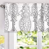 "valances window treatments  Samantha Window Treatment Valance, Floral/Damask Medallion Pattern, Rod Pocket, 52""x18"" (Gray)"